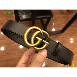 Leather Men's Gucci AAA+ black Belts double G buckle #9111462