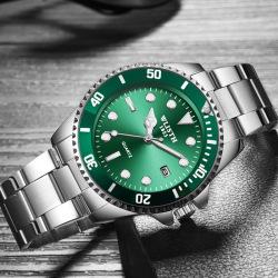 Green Black Water Ghost Waterproof Calendar Men's Watch Strong Luminous Steel Band Quartz Watch #99898845