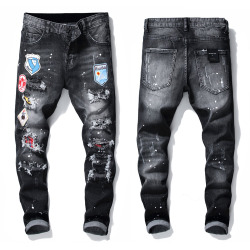 Dsquared2 Jeans Mens Badge Rips Stretch Black Jeans Fashion Slim Fit Washed Motocycle Denim Pants Panelled Hip HOP Trousers (15 Models) #99897908
