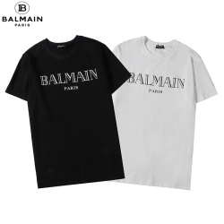 2020 Balmain Classic short sleeve style for men and women in black and white #99900232