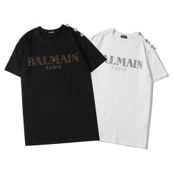 Balmain T-Shirts 2020 new short sleeve ironing and drilling pattern gold buckle #99900228