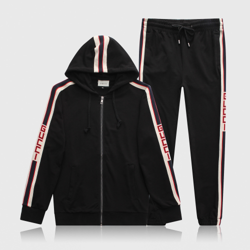 Gucci Mens Tracksuit Letter Luxury Casual Suits Hoodies + Pants Spring Autumn Zipper Kits Sports Running Tracksuit Black Gray #9115254