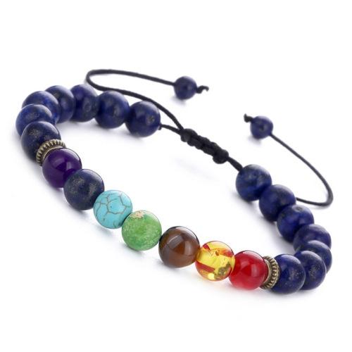 Black volcanic stone handmade beaded bracelet yoga bracelet natural stone jewelry #9115665