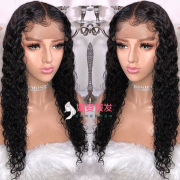 Female Europe and America long curly hair black small volume front lace wig hand woven hood factory spot wholesale LS-158-24 #9116407