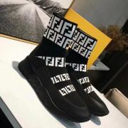 Unisex 2018 Fendi FF Printed knit casual sock boots black #9107114