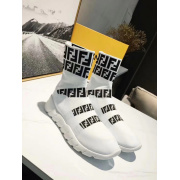 Unisex 2018 Fendi FF Printed knit casual sock boots white #9107112