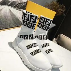Unisex 2018 F*ndi FF Printed knit casual sock boots white #9107112