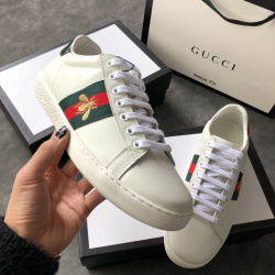 Gucci Bee White sneakers cowhide casual shoes sheepskin inside for men or women #996548