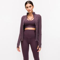 2021 autumn and winter models nylon stretch zipper running long-sleeved yoga sports jacket women #99910210